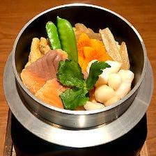 鮭と小柱の釜飯