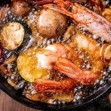 赤海老と季節野菜のアヒージョ