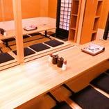 宴会にぴったり! お座敷完全個室で、ゆっくりとお食事をお楽しみ下さいませ。