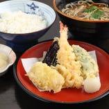 【ランチセット】天ぷら盛合せ・手打ちそば・ご飯
