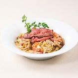 ローストビーフと海老の和風スパゲッティ