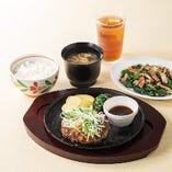 ハンバーグ・肉料理セット(ごはん・みそ汁つき)