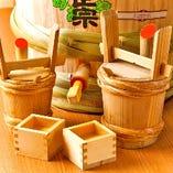 ◆菊正宗・生樽酒 一斗樽を仕入れております。枡に塩をのせて。