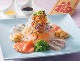 真鯛とサーモンのローヘイサラダ