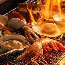 季節の美味いものを熱々な炉端焼きで