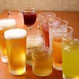 飲み放題メニューは豊富な種類をご用意。