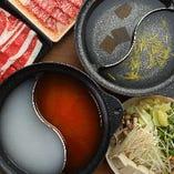 しゃぶしゃぶは昆布・ゆず・火鍋・白湯・期間限定からお好みの出汁2種選べます