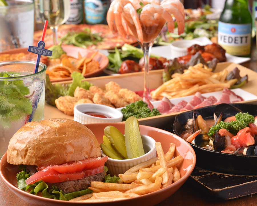【2時間飲み放題付】ハンバーガーコース〈全7品〉|宴会・パーティ