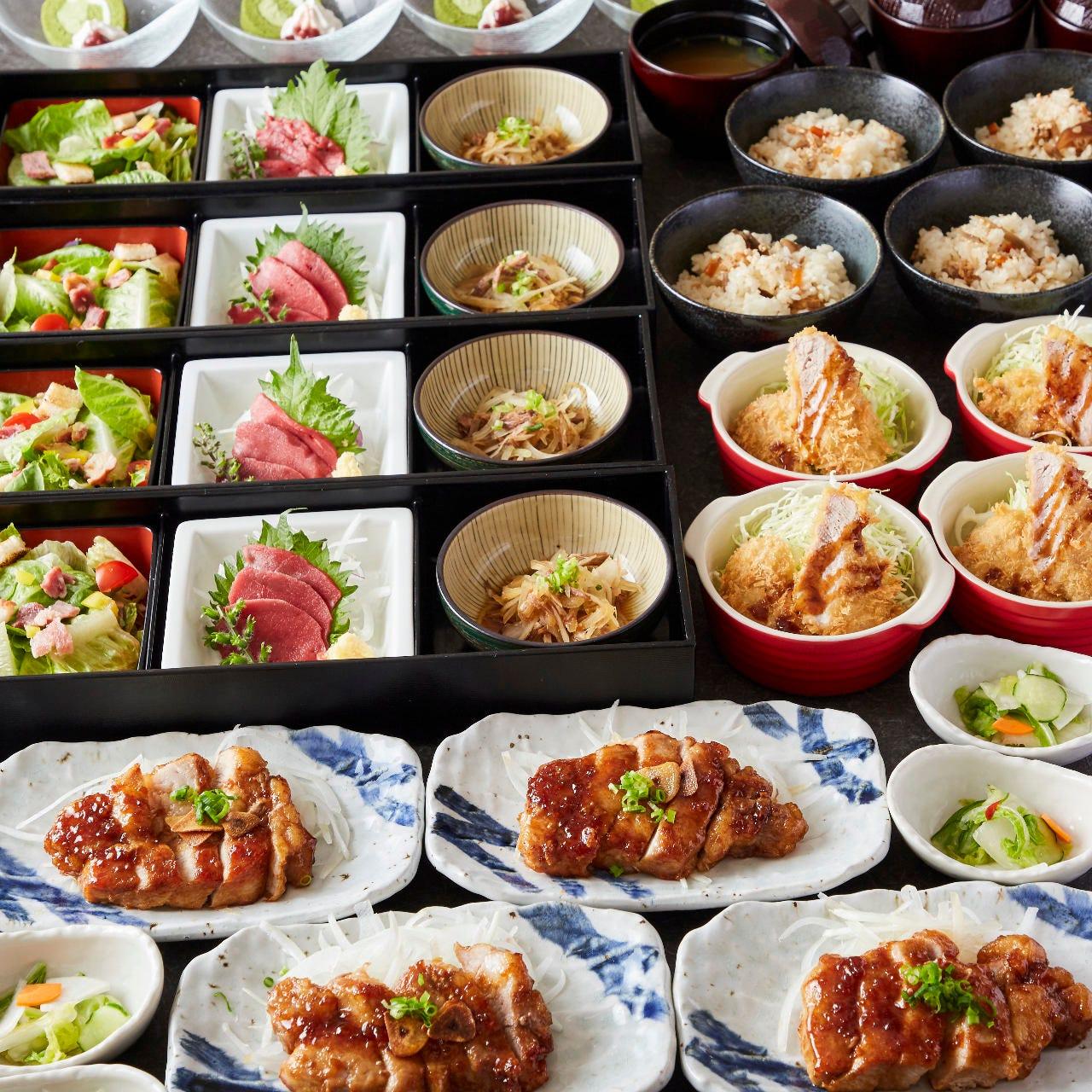 [熟成豚のトンテキ]熟成豚のトンテキはコース限定メニュー!牛タン・馬肉など7品【2H飲み放題付】3500円