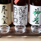 焼酎・日本酒の利き酒セットを日替わりでお楽しみいただけます☆