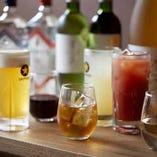 コース飲み放題では、ビールやワイン、サワー系など多彩なラインナップをご用意