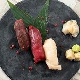 肉寿司3種盛り合わせ 一貫