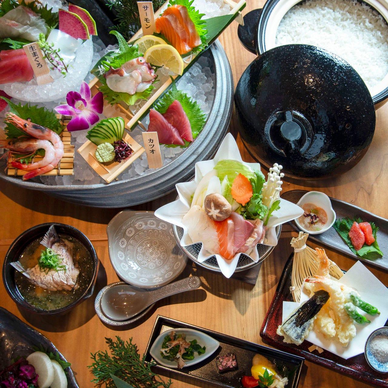 リーズナブルに旬の新鮮魚介満喫!季節の旨い魚と銀シャリ土鍋めしを味わう『おまかせお手軽コース』全7品