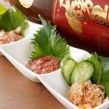 日本酒にピッタリの珍味3種盛 ¥900 塩辛・酒盗・梅水晶