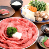 すき焼きとご一緒に牛にぎりも愉しめる「安田良厳撰コース」。記念日や結納など、特別な日に最適です。