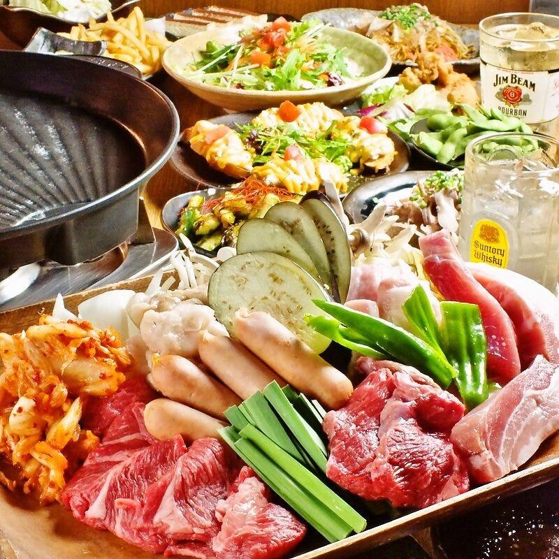 【焼肉】25種のお肉,10種の野菜が2H食べ飲み放題!サイドメニューも30種類と充実♪4500円(税込)
