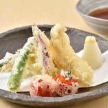 鶏天と夏野菜天婦羅