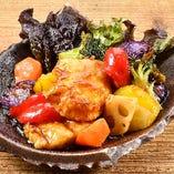 白身魚とビタミン野菜の黒酢あんかけ