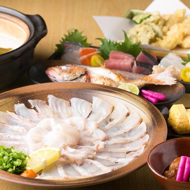 自慢の魚料理を中心にゆるりの逸品が味わえるコース3,500円~