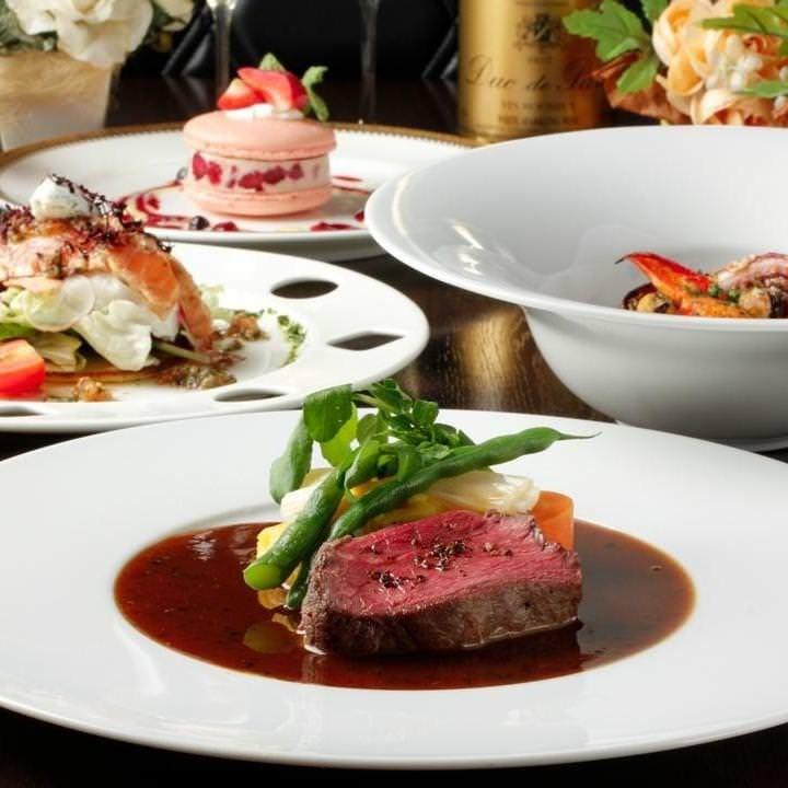 ホールケーキ付予約必須【記念日誕生日】フォアグラや鮮魚、お任せお肉料理など贅沢な全6品
