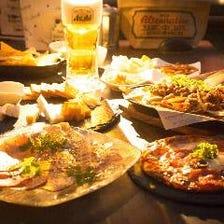 【テラス席も可能♪当店逸品が楽しめる♪】Dの唐揚げ&ハラミステーキが味わえる飲み放題付き宴会コース
