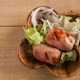 国産豚のソーセージ♪柚子胡椒味と食べ比べ