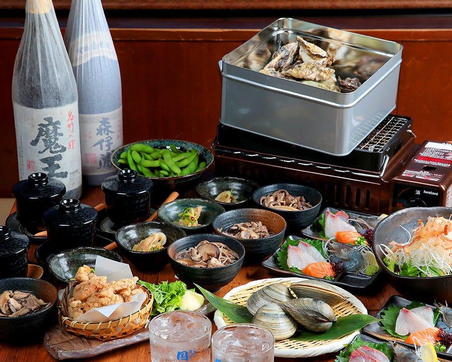 新鮮お刺身3種&浜焼&名物牡蠣のがんがん焼きがついた海鮮太郎オススメコース<9品> 2,500円