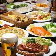 【コロナ対策・宴会】少人数貸切!2H世界のビールも飲み放題☆プレミアム飲み放題付お馴染みメニューコース(2~40名)
