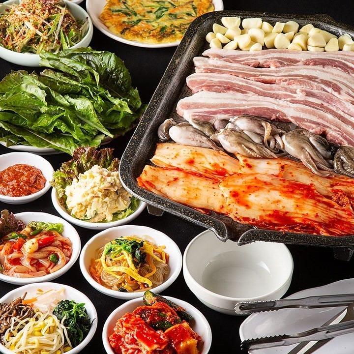 良質な鹿児島県産豚肉使用のサムギョップサル食べ放題コース