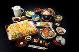 貸切 エグゼクティブコース(お一人様 14,300円) 料理内容一例 酢の物/前菜/茶碗蒸し/穴子の煮付け/煮大根のかに玉餡かけ/すき焼き鍋/帆立の陶板焼き/特上お刺身の盛り合わせ /天ぷら盛り合わせ/鶏肉としめじのタコの炊き込み御飯/蛸つみれとあおさのお吸い物/マンゴームースと桃のコンポート