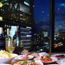 夜景の見えるイタリアンディナー