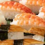 【にぎり寿司】 シャリはコシヒカリ一等米のみを使用