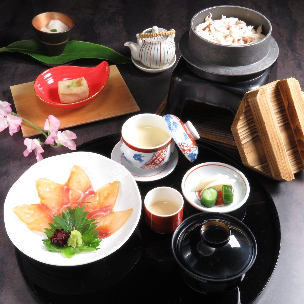 鯛茶懐石 デザート・コーヒー付き6品 3,850円税込