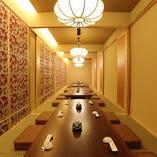 完全個室【掘り炬燵和個室】【テーブル椅子席洋個室】 または【カウンター席】ご用途に応じてお選び下さい