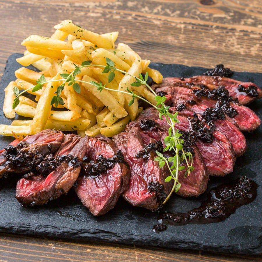 【豪快肉料理!】バンバン!牛ハラミのステーキ トリュフソース