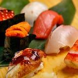 【寿司】米は自社農園の米を使用、こだわり看板メニュー