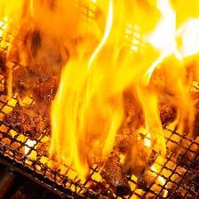 素材本来の味を引き出す豪快な炭焼き