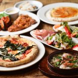 PIZZAのほか、サラダ・アヒージョ・ドルチェも楽しめるコース