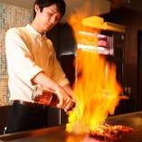 炎の鉄板パフォーマンスは必見!この価格で鉄板焼を楽しめます。