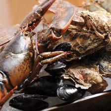 厚岸牡蠣や活オマール海老等新鮮魚介