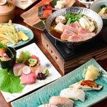 炙り寿司と小鍋、天ぷらなど、今夜はちょっと贅沢に…。