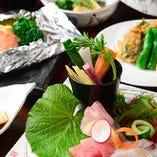 野菜や鮮魚をお好きなお酒と共に。