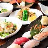 旬の味覚を楽しんで、寿司で〆る。