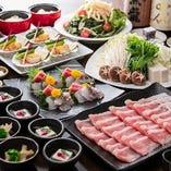 【白銀コース】薩摩黒豚しゃぶ・築地鮮魚が味わえるコース