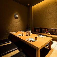 寛ぎの個室で自慢の魚料理と日本酒を
