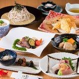 旬魚の刺身や、旬菜の天麩羅、そして牛タンステーキを楽しめる逸品料理のコース。 ※+1,500円(税込)で飲み放題をお付けできます。