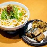 【期間限定】揚げ秋刀魚ときのこ天うどん