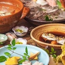 より豊富に『ろっこん名物鯛めし7,700円コース』上造り盛りや魚のメイン料理、地魚の煮付けなど全8品