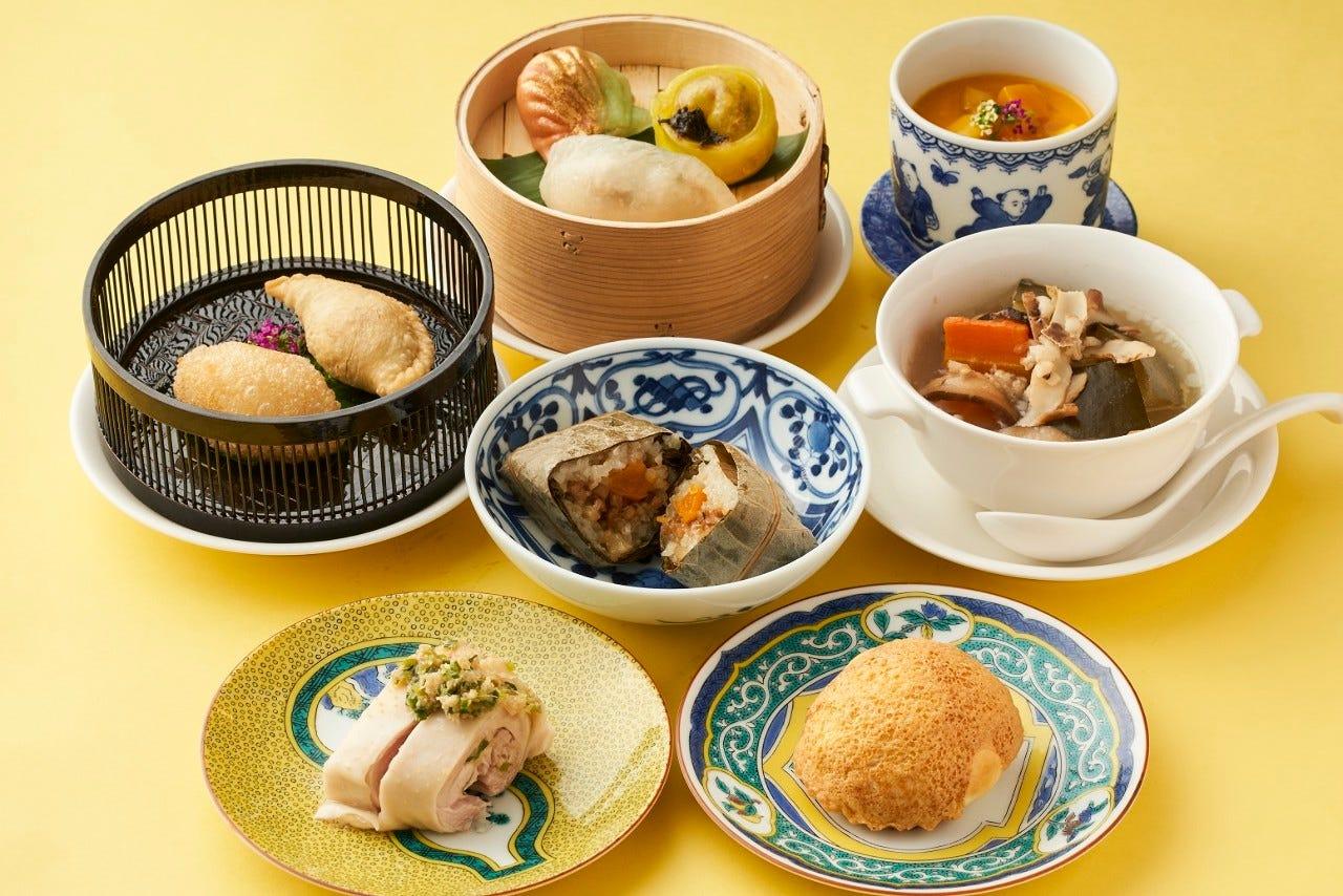 【1ドリンク付き飲茶コース】香港薬膳炊き込みスープ、シェフのおすすめ点心を中心としたコース全7品