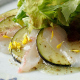 レモンとハーブが爽やかに香る「水ナスと鮮魚のカルパッチョ」